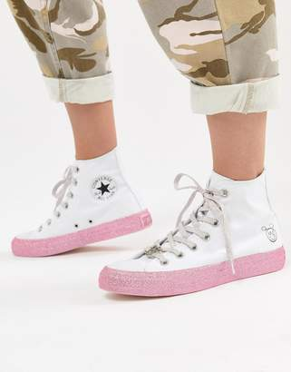 Converse X Miley Cyrus Chuck Taylor All Star Hi Sneakers In White And Silver Glitter