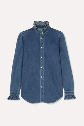 Eve Denim Violet Ruffled Denim Shirt - Mid denim
