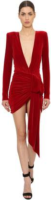 Alexandre Vauthier Draped Velvet Mini Dress