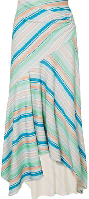 Peter Pilotto Striped Jersey Wrap-effect Skirt