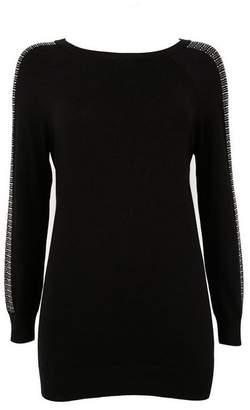 Wallis Petite Black Sparkle Sleeve Tunic Jumper