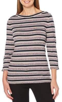 Rafaella Striped Lurex Three-Quarter Sleeve Top