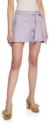 Trina Turk Bayshore Drive Belted Stretch-Cotton Shorts