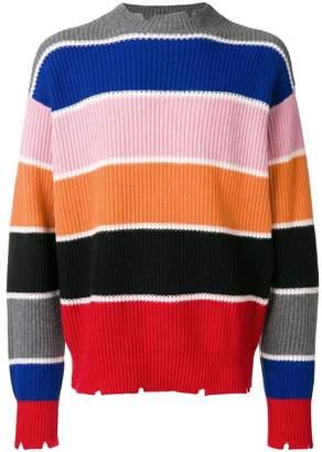 MSGM ribbed colourblock stripe sweater