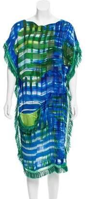 Tsumori Chisato Printed Fringe-Trim Midi Dress w/ Tags