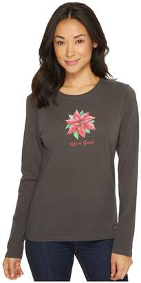 Life is Good Poinsettia Watercolor Long Sleeve Crusher Tee Women's Short Sleeve Pullover