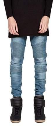 give Trendy Designed Straight Pants Casual Men Jeans Slim Elastic Denim Trousers
