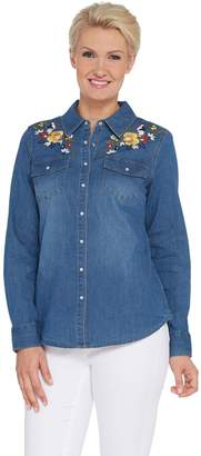 Denim & Co. Embroidered Stretch Denim Shirt
