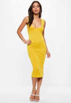 Missguided Yellow Jersey Square Neck Midi Dress