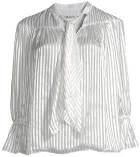 Alice + Olivia Danika Tie-Neck Stripe Blouse