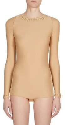 Roberto Cavalli Studded Long-Sleeve Bodysuit