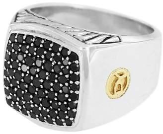 David Yurman 18K Yellow Gold 1.82ct. Black Diamonds Pave Signet Ring Size 10