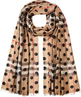 Burberry Dot Printed Check Scarf in Mulberry Silk and Wool