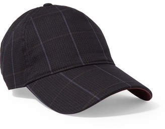 Rag & Bone Marilyn Leather-trimmed Checked Cotton-blend Baseball Cap - Navy