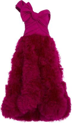 Marchesa One-Shoulder Tea-Length Silk Gown