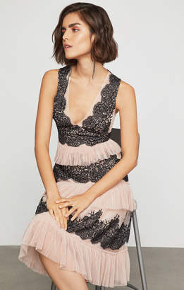 BCBGMAXAZRIA Floral Embroidered Tulle Dress