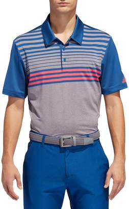 adidas Ultimate 3-Stripes Heathered Golf Polo