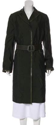 Akris Leather-Trimmed Silk Coat