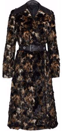 Belted Leather-Trimmed Faux Fur Coat