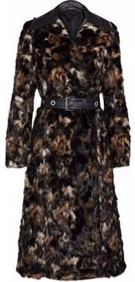 Helmut Lang Belted Leather-Trimmed Faux Fur Coat