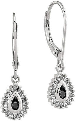 Black Diamond FINE JEWELRY 1/4 CT. T.W. White and Color-Enhanced Sterling Silver Teardrop Earrings