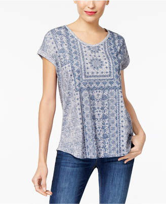 Style&Co. Style & Co Graphic Shirttail-Hem Top