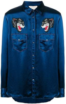 Gucci embroidered wolves satin shirt