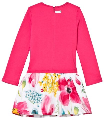 Catimini Pink Jersey and Woven Floral Print Dress