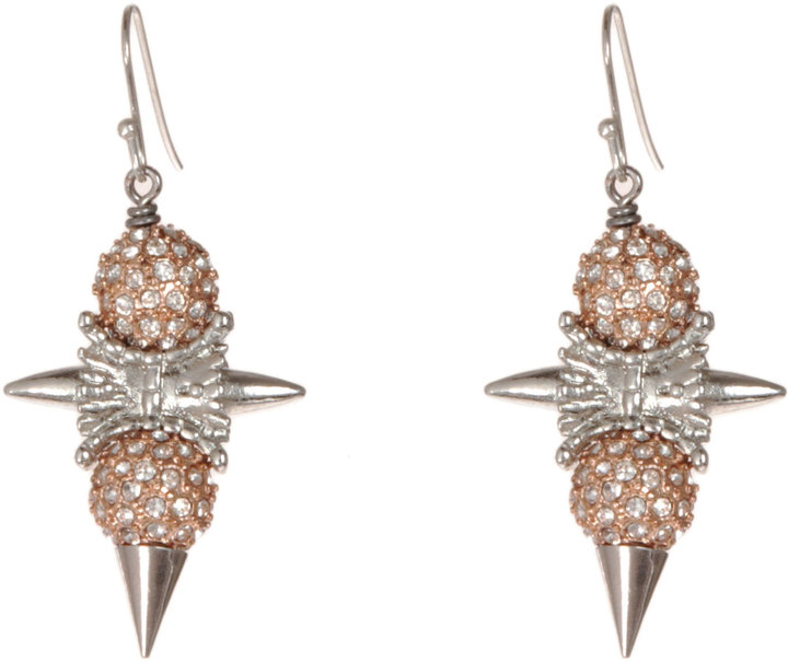 Fenton Silver, Rose Gold & Crystal Delano Small Drop Earrings