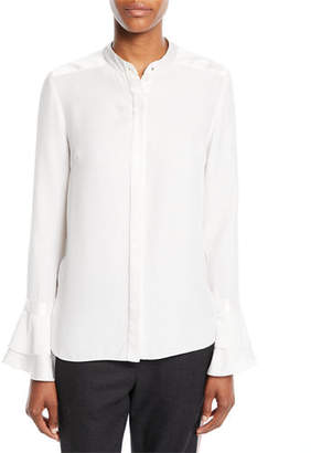 Elie Tahari Safiya Silk Button-Front Blouse