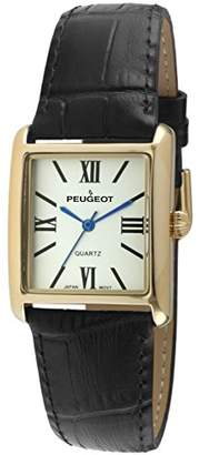 Peugeot Women's '14k Gold Plated Tank Roman Numeral Band' Quartz Stainless Steel and Leather Dress Watch