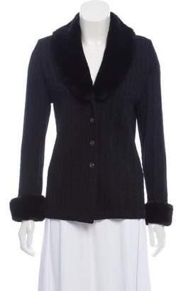 St. John Faux Fur-Trimmed Cable Knit Jacket