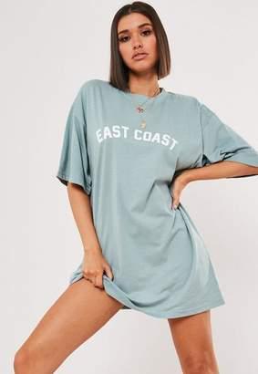 36d0073d503 Missguided Green Oversized East Coast T Shirt Dress