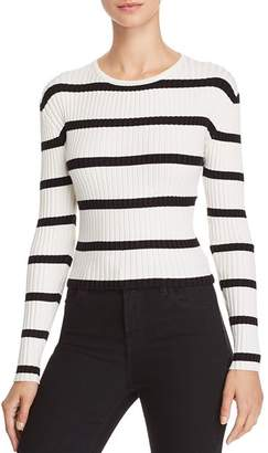 Olivaceous Striped Ribbed Cropped Sweater