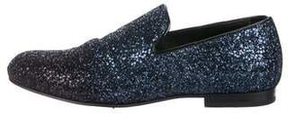 Jimmy Choo Glitter Round-Toe Loafers