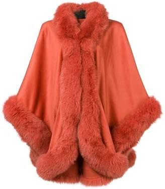 Liska fox fur trim cape