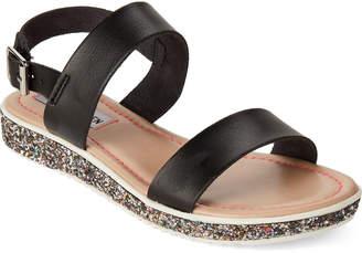 Steve Madden Kids Girls) Black Spark Glitter Wedge Sandals