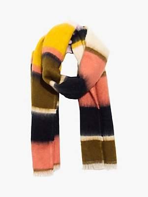 Madewell Fuzzy Stripe Scarf, Sweet Dahlia/Multi