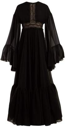 Giambattista Valli Lace Trimmed Silk Crepe De Chine Gown - Womens - Black
