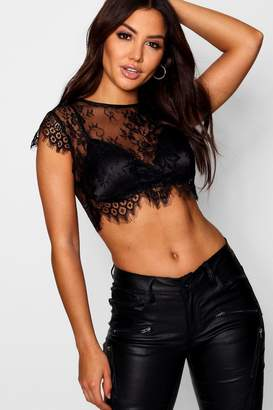 boohoo Premium Eyelash Lace Crop Top