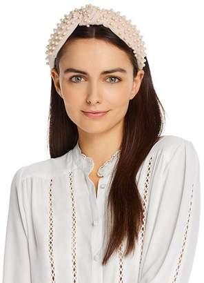 Lele Sadoughi Embellished Velvet Knot Headband