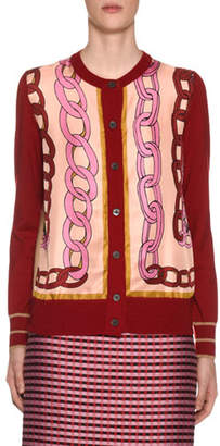 Marni Button-Front Chain-Print Twill Cardigan