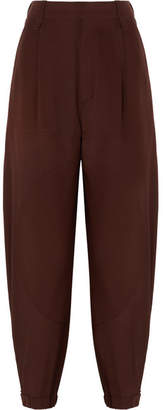 Chloé Silk Crepe De Chine Tapered Pants - Dark brown