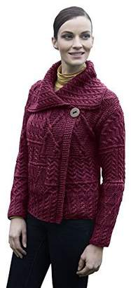 Carraigdonn Carraig Donn Ladies Patchwork 1 Button Collar Wool Irish Cardigan (, Very )