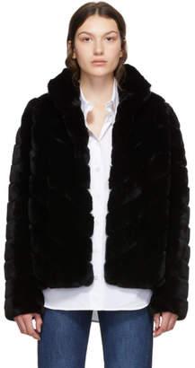 Yves Salomon Black Rex Rabbit Fur Short Jacket