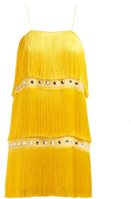 Sara Battaglia Fringed Crystal Embellished Dress - Womens - Yellow