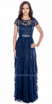 Decode 1.8 Ruffled Chiffon Short Sleeve Lace Embellished Evening Dress $298 thestylecure.com