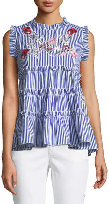 Romeo & Juliet Couture Sleeveless Embroidered Ruffle-Tiered Striped Blouse