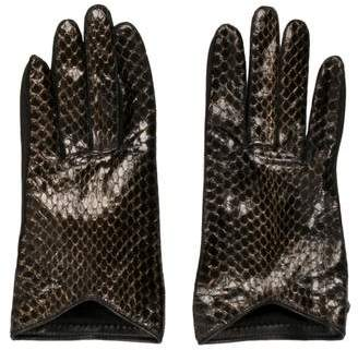 Burberry Snakeskin-Trimmed Leather Gloves