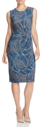 NIC+ZOE Broken Pottery Ruched Printed Dress $168 thestylecure.com